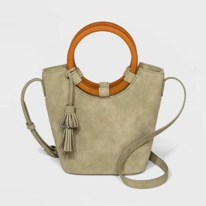 Wood Handle Bucket Crossbody Bag Universal Thread